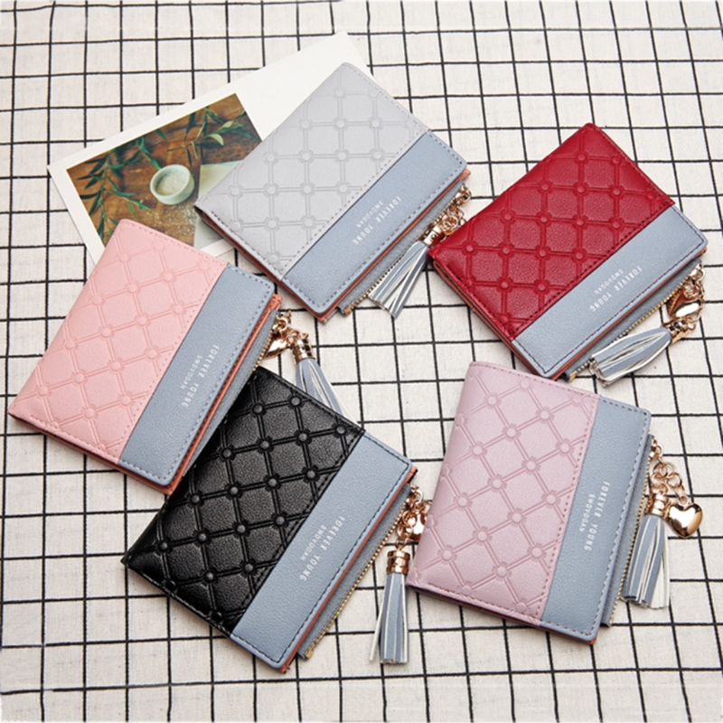 New Wallet Women Tassel Coin Bag Leather Lady Simple Bifold Small Handbag Purse gete new python leather women handbag lady real snake dinner women purse large capacity grab bag girl women cluth bag wallet