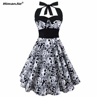 HimanJie Retro Vintage Style Sleeveless 3D Skull Floral Printed 2017 Summer Women Dress Halter Plus Size