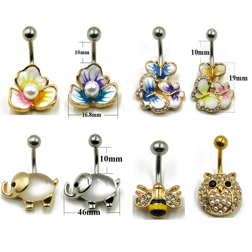 Us 0 85 5 Off 1pc Surgical Steel Fashion Flower Cz Fem Navel Bar Belly Button Rings Piercing For Women Navel Body Jewelry 14g In Body Jewelry From