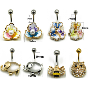 1pc Surgical steel Fashion Flower CZ Fem Navel Bar Belly Button Rings Piercing For Women Navel