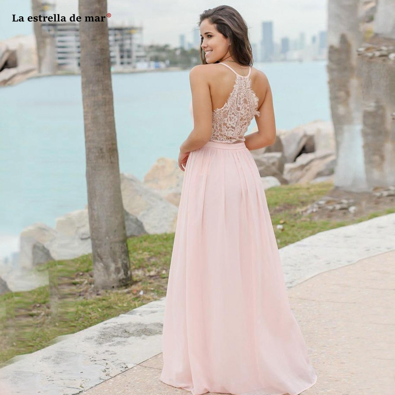Sexy Pink V Neck   Bridesmaid     Dresses   Chiffon Gorgeous Back Spaghetti Straps Beach Wedding Guest   Dress   Custom gaun pesta dewasa