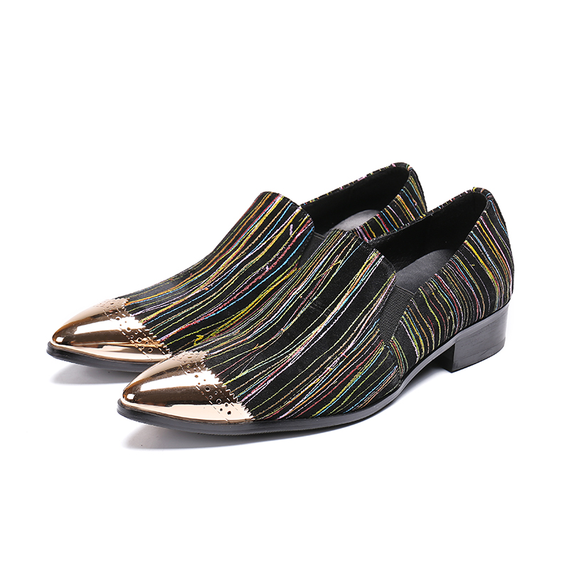 Zapatos hombre vestir gold steel pointed toe men shoes leather striped slip on italian loafers business office formal shoes 2019Zapatos hombre vestir gold steel pointed toe men shoes leather striped slip on italian loafers business office formal shoes 2019