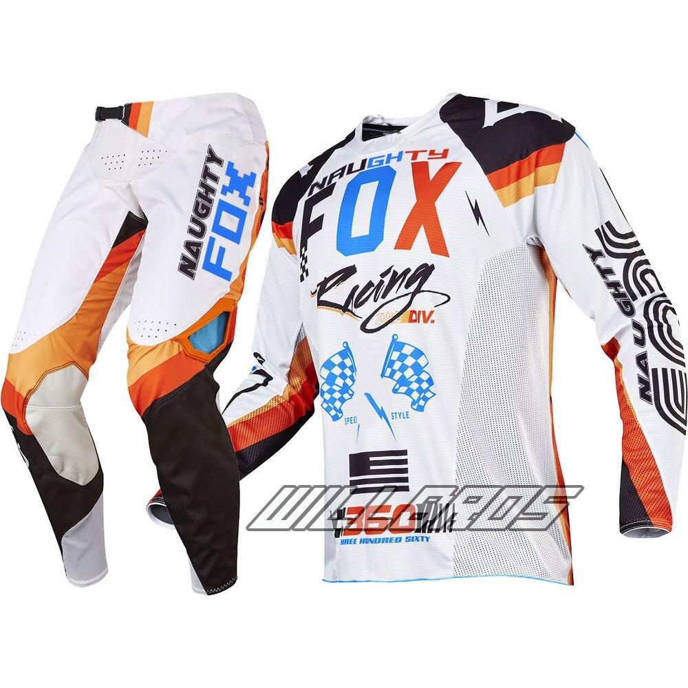 MX 360 Rohr Jersey et Pantalon Combo Racing Motocross Gear Set VTT VTT Dirt Bike Offorad Blanc Costume