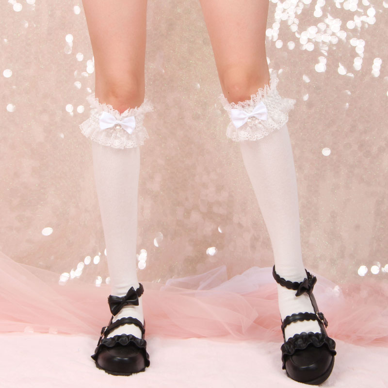 Princess Sweet Lolita Stockings Original All-cotton Stockings Calf Stockings With Bow Knots And Beads In Winter Women WGR041