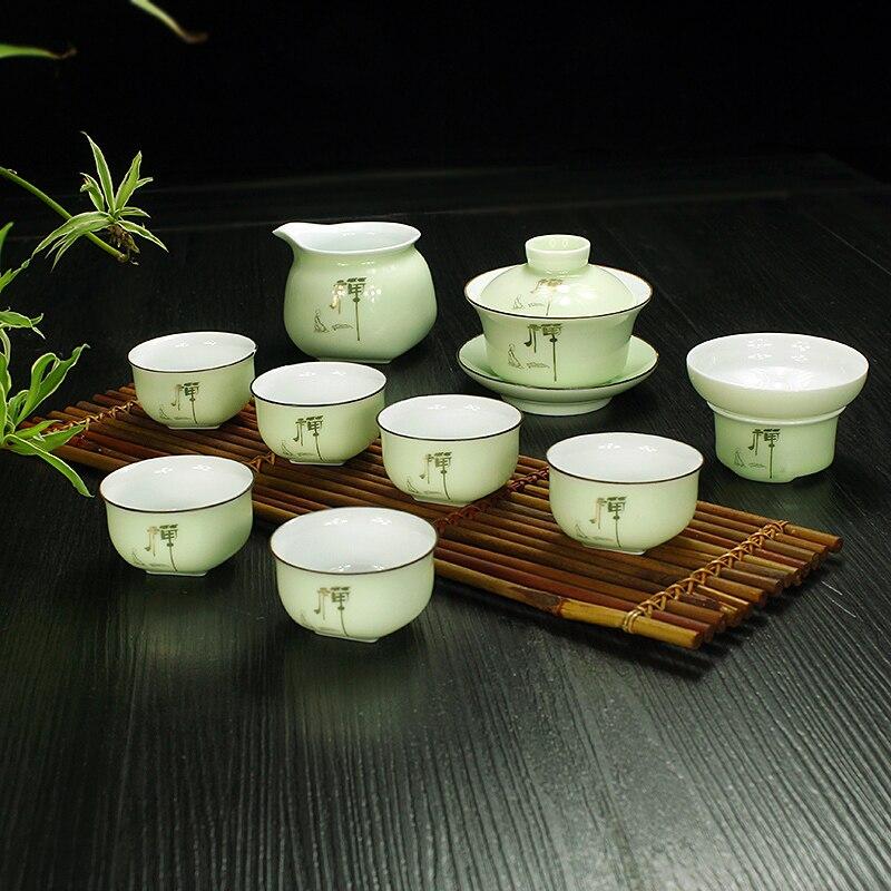Jingdezhen China Celadon Tea Set Ceramic Porcelain Pottery