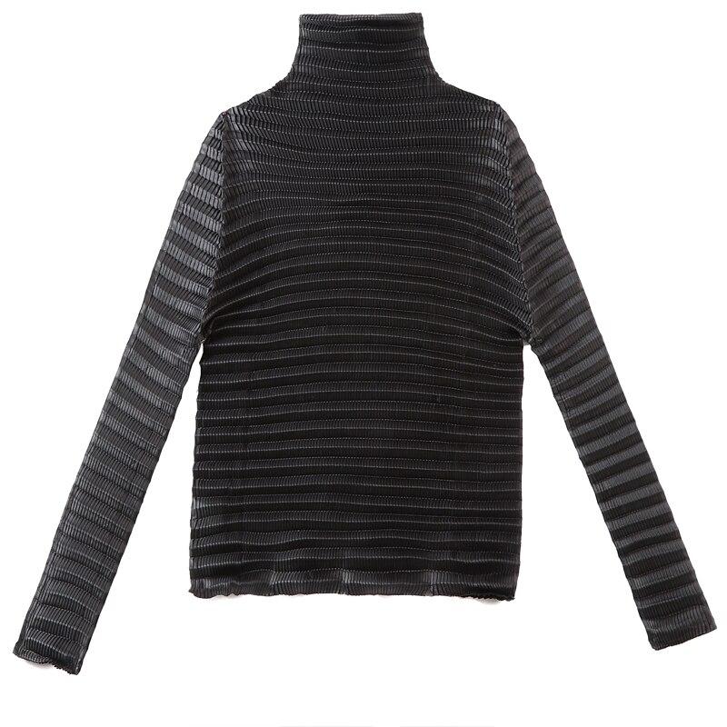 Kragen T Tops shirt Bascs Schwarz Miyake Gefaltet Verschiffen Schwarzes Plissee Freies Hohe Langarm EOTWxSzqA