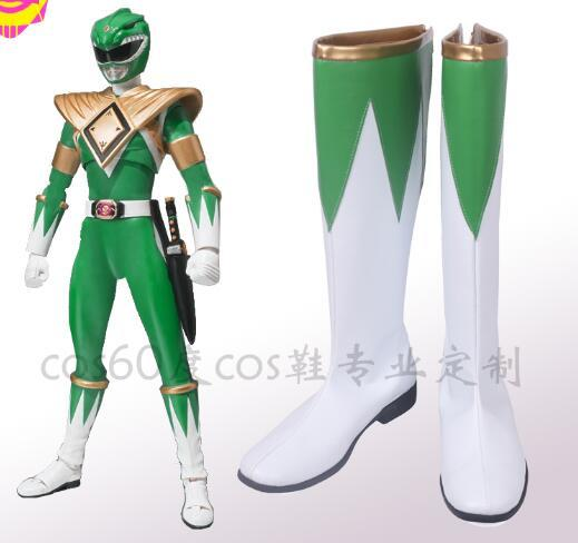 Burai Dragon Ranger Zyuranger Cosplay Boots Cosplay Costume Accessories Halloween Props Shoes White And Green Adult