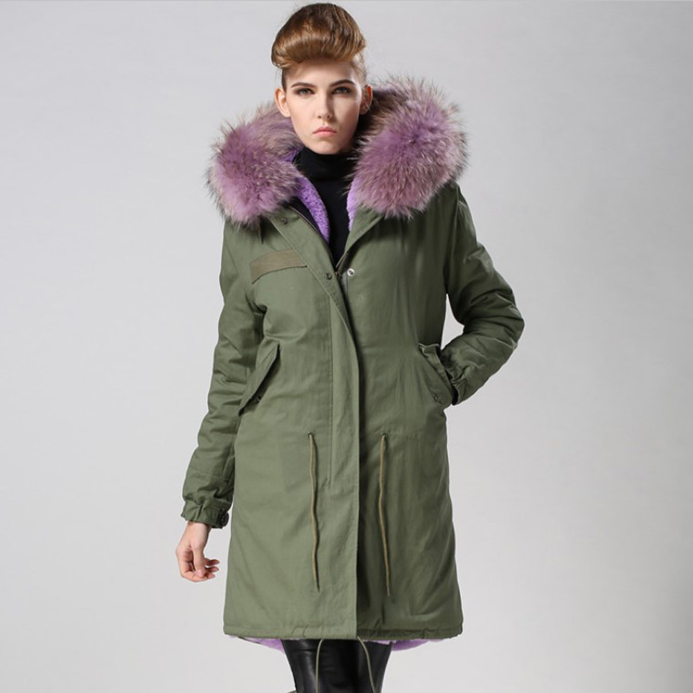 Women's Parka Winter Long Hooded Coat Women Real Raccoon Fur Collar Coats Long Sleeves zipper Casual Thicken Cotton Jacket 2017 winter new clothes to overcome the coat of women in the long reed rabbit hair fur fur coat fox raccoon fur collar