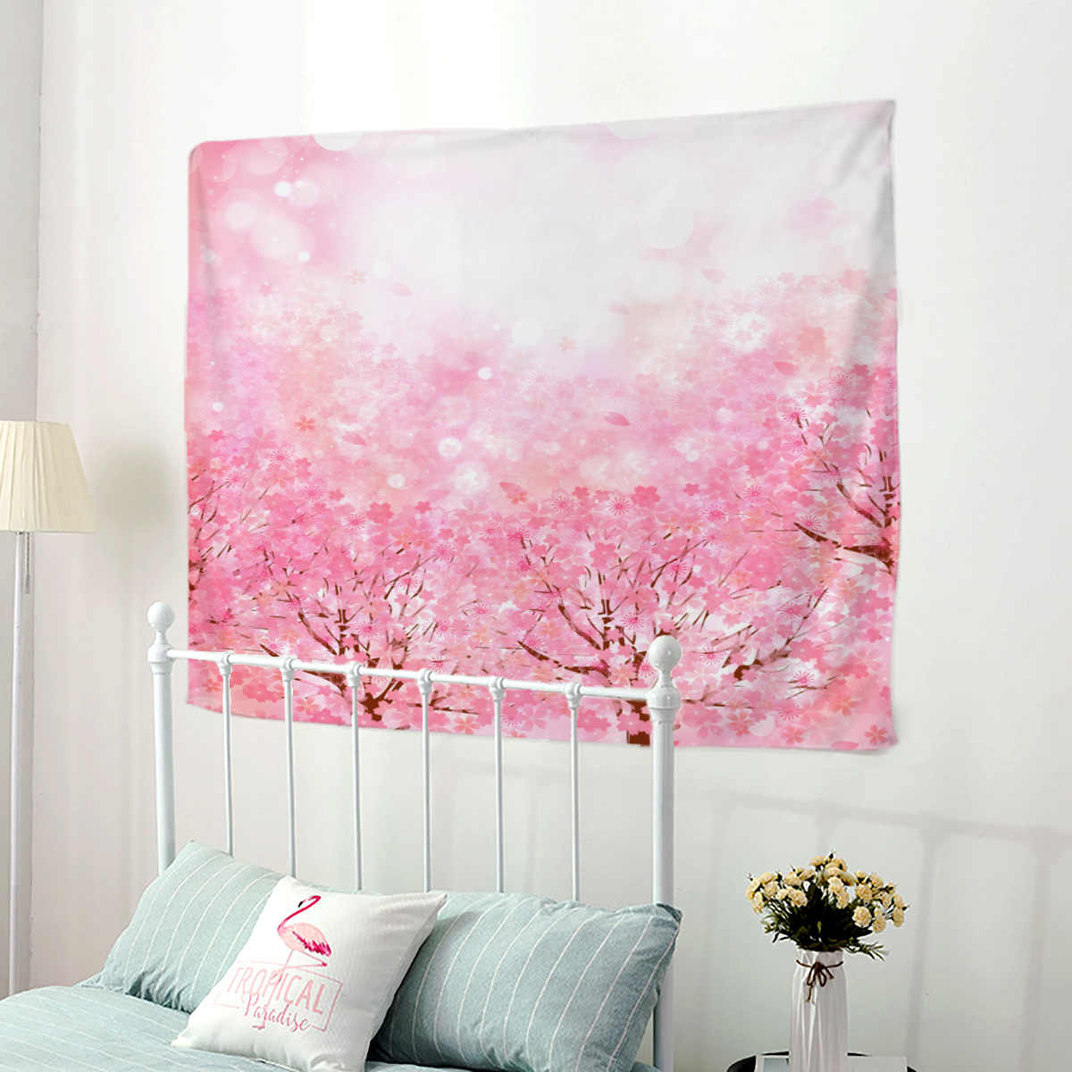Goohome Japanese Style Cherry Blossoms Wall Hanging Wall Decor Tapestries Wall Decor Bedspread Blanket Bedding Sheet Towel