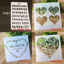 4pcs Templates Letters Numbers Heart Stencil Bullet Journal Spray Pattern Stencils For Scrapbooking Painting