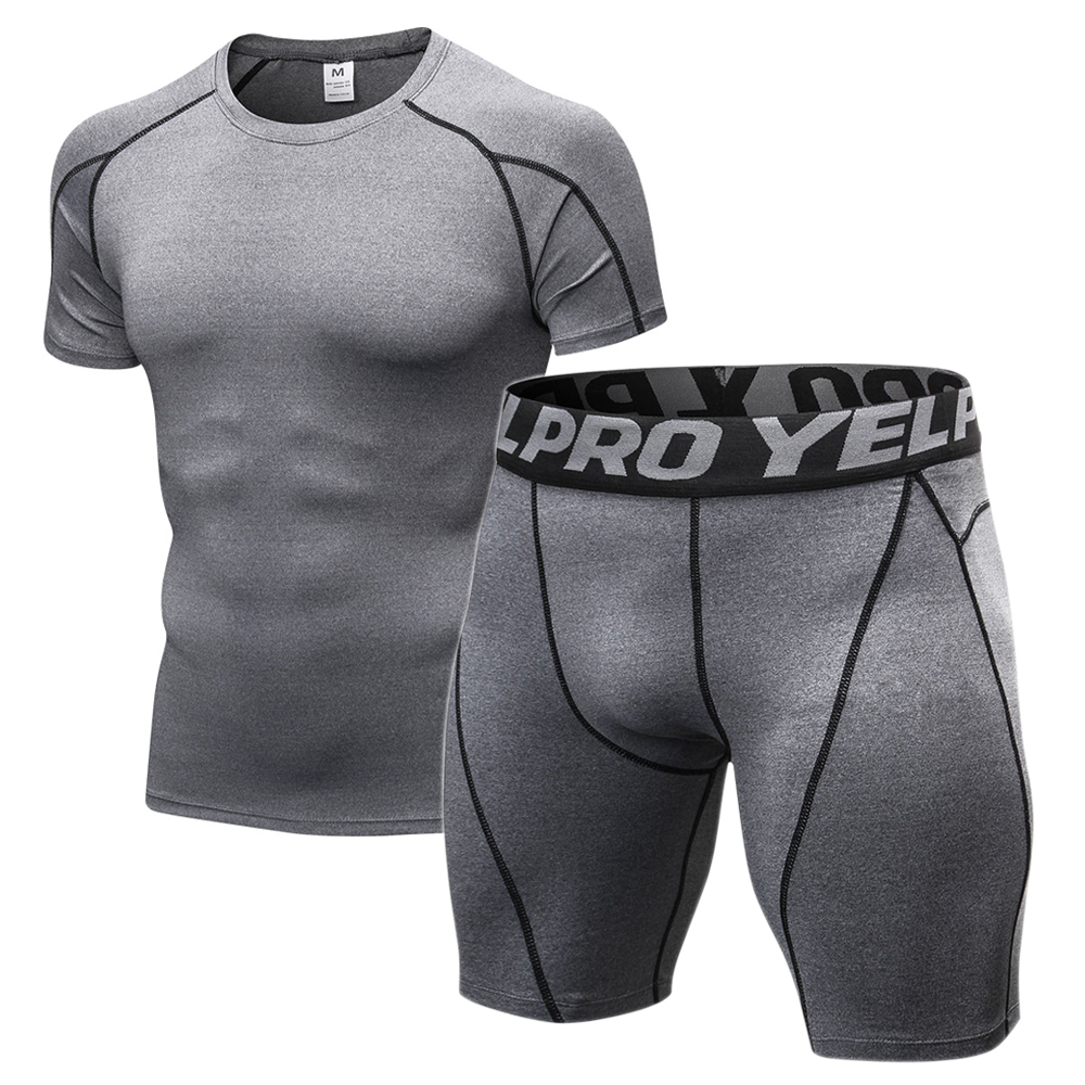 Men's Compression Gym Clothing Men Jogging Suits Sports Sets Fitness Clothes Black Tights Running T Shirt Shorts Gym Wear Men