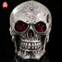 LED Eyes Resin Skull Skeleton Head Statues Demon Skull Figurines Sculpture Home Decoration Craft Halloween Gift(China)