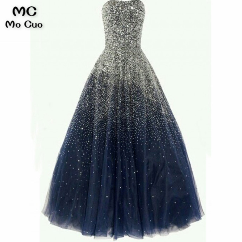 Stunning A-Line Strapless Gradient Tulle Long Prom3