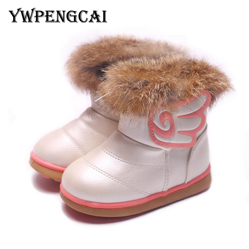 YWPENGCAI 2019 Winter Children Boots Real Fur Baby Toddler Girl Cotton-Padded Shoes Girls Warm Thick Snow Boots #7HV0330