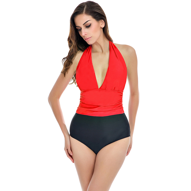 Sexy Plus Size One Piece Swimwear Women Plunge Neck Swimsuit Push Up Bathing  Suit Solid Beach