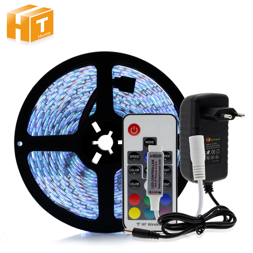 RGB LED tiras 5050 DC12V 5 M 300 LED flexible luz 17 controlador RF Keys + 12 V 3A adaptador de corriente