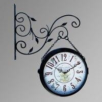 Double sided Wall Clock Large Wrought Iron Vintage Watch Saat Retro Wall Clocks Relogio de Parede Reloj de Pared Horloge Murale