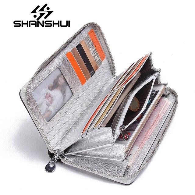 21aef6c6eda SHANSHUI Merk Lange Mobiele Telefoon Lederen Portemonnee Vrouwelijke  Lederen Portemonnee Card Dame Portemonnee Dames Portemonnee Zilveren