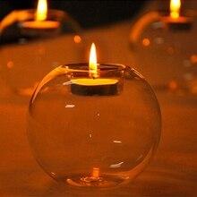 LIN MAN  8cm Hot Sale Classic Crystal Glass Candle Holder Globes Terrarium Wedding Candlestick Vase Home Hotel Bar Decorative