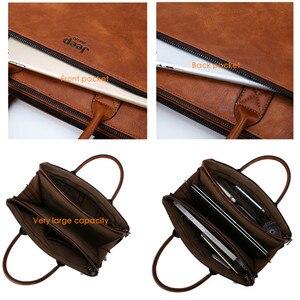 Image 4 - JEEP BULUO maletines de alta calidad para hombres, Set para portátil de 14 pulgadas, bolsos de negocios, bolsos de hombro de cuero para oficina, gran capacidad