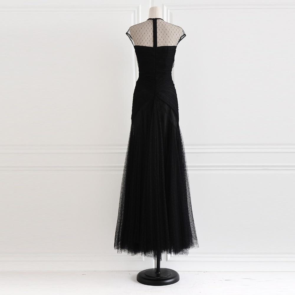 Main Formelle Et Qualité Nouvelle Robe Broderie Élégante 2017 La Haute À De Noir Perspective Mode Printemps Perles Longue 6qx7EnfzwF