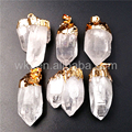 WT-P968 5pcs Wholesale Natural Crystal Point Pendant for Necklace Making,Natural Point Stone Pendant Clear Quartz Gold plated