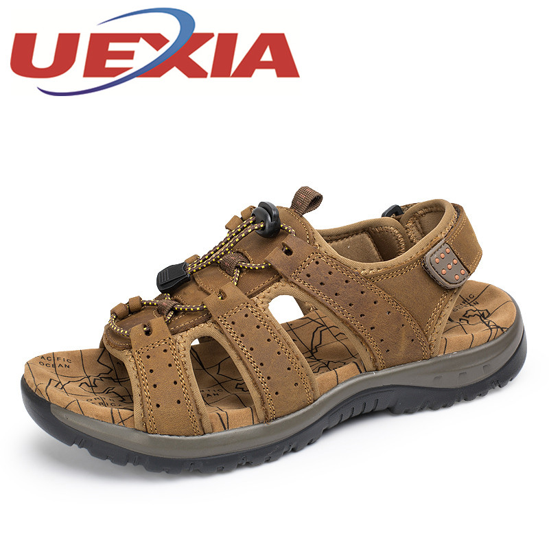 Genuine Leather Men Casual Sandals Shoes Summer Cow Leather New For Beach Male Shoes Mens Gladiator Sandalias Plus Size 38-45