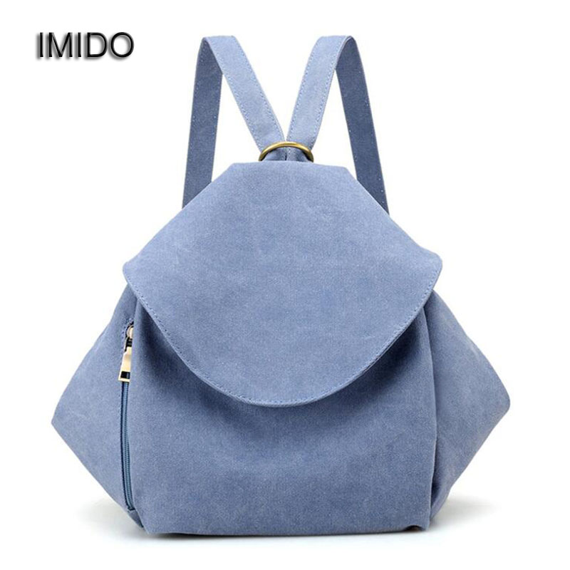 IMIDO Women Canvas Backpacks for teenage Girls Small Backpack sac a dos New Solid School Bags Rucksacks Brand Design Blue SLD045 ciker brand city printing backpack women canvas backpacks for teenage girls casual travel school bags rucksack mochila sac a dos