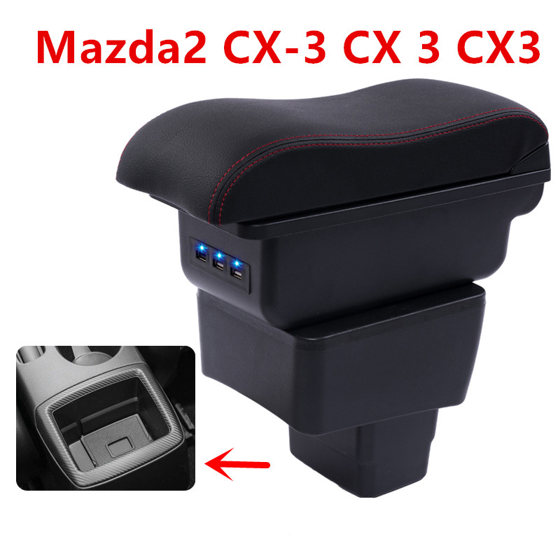 For mazda2 skyactiv version cx3 CX-3 armrest box central Store content box with cup holder ashtray USB cx 3 armrests box cx3