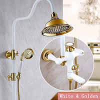 Luxury Style Bathroom Shower Water Faucet With Rainfall Shower Head White Gold Wall Mounted