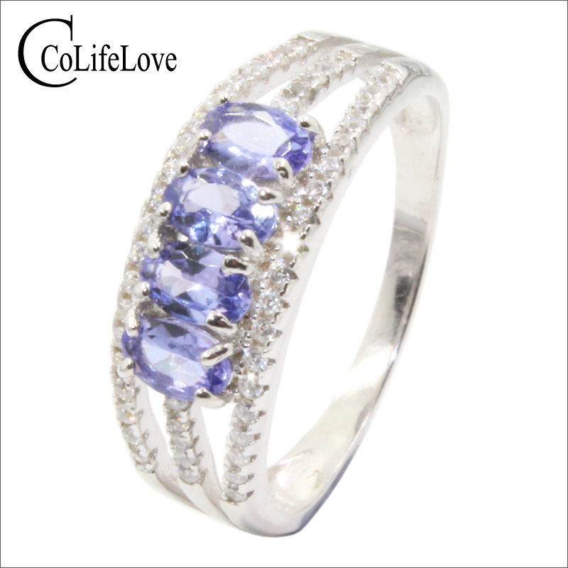 Fashion tanzanite ring for party 4 pieces natural tanzanite silver ring solid 925 silver tanzanite fine
