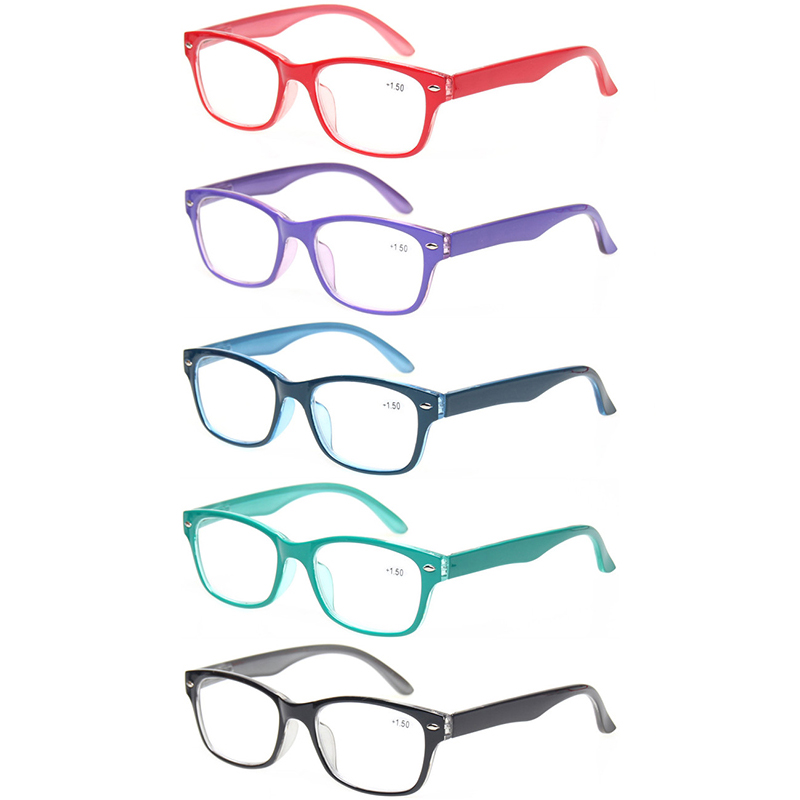 5 Pack Reading Glasses For Men And Women Spring Hinge Oval Frames Colorful Readers Quality Eyeglasses 0.5to 6.0