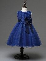 Hot koop europese meisjes kleding mode hoge kwaliteit bruidsmeisjes jurk kids wit en marineblauw bloem meisje jurk