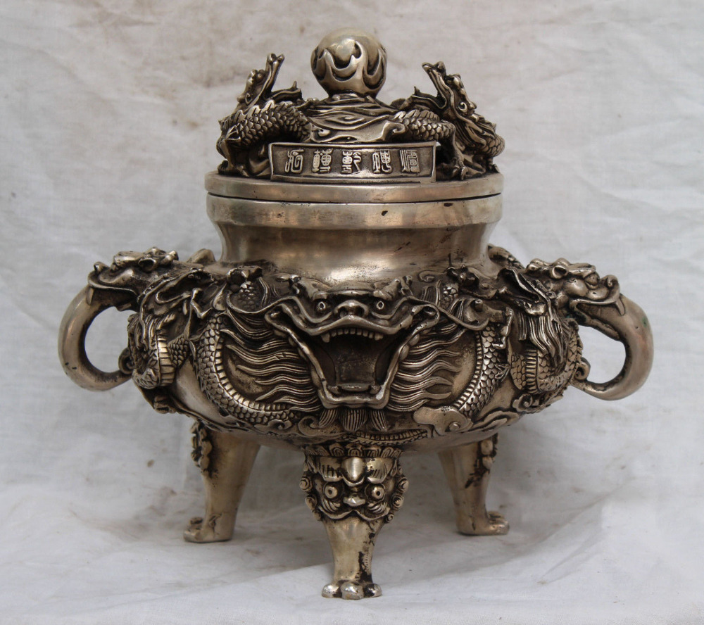 6710989++12Marked Chinese Dynasty Silver Fengshui 9 Dragon Dragons Incense Burner Censer6710989++12Marked Chinese Dynasty Silver Fengshui 9 Dragon Dragons Incense Burner Censer