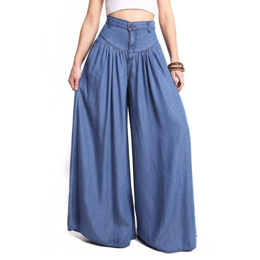 Women Denim Blue Black   Wide     Leg     Pants   High Waist Long Harem   Pants   Pockets Loose Pleated Party Palazzo Plus Size 5XL Trousers