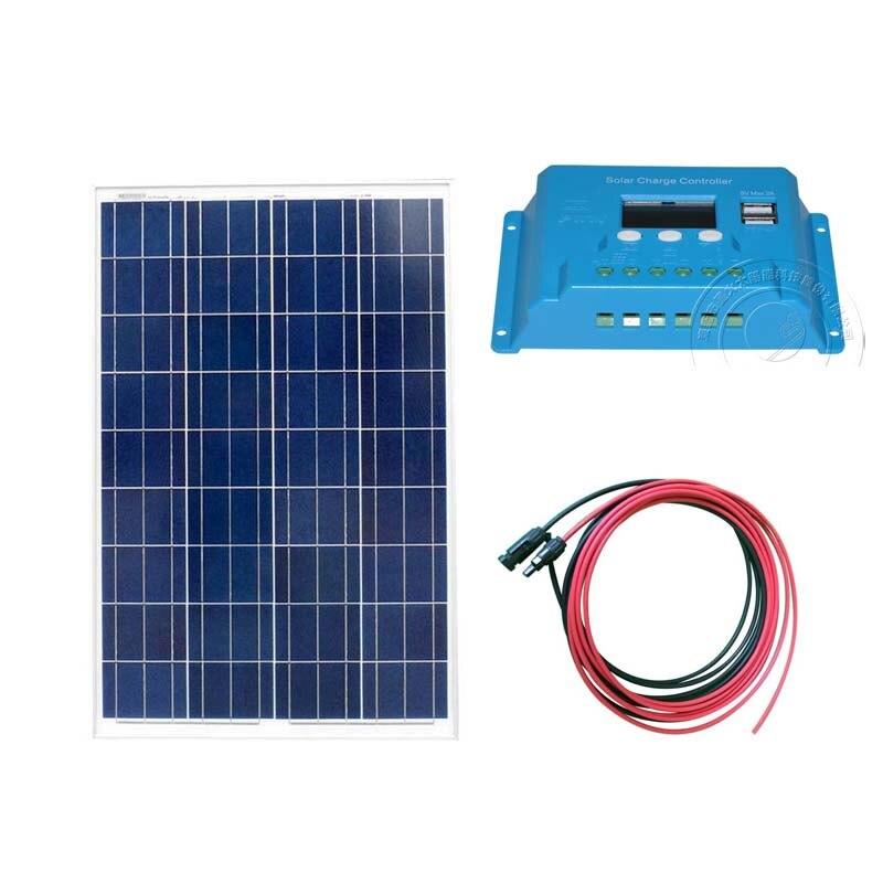 Комплект солнечной панели 100 Вт 12 В в солнечное зарядное устройство Контроллер заряда 12 В в 10A PWM PV Удлинительный кабель 5 м Motorhome автомобильны...