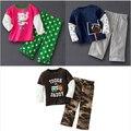Primavera Otoño ropa Para Niños Juegos de Dibujos Animados Imágenes Longsleeved Camiseta + Pantalones Fijados Precioso Niño Niñas Ropa de Niños Ropa