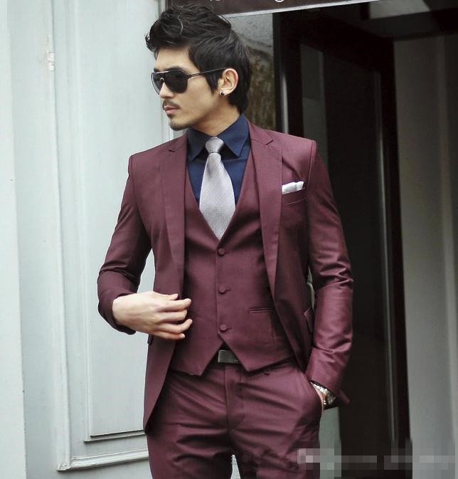Popular Slim Fit Burgundy Suit-Buy Cheap Slim Fit Burgundy Suit ...