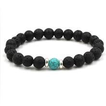 9 Colors Essential Oil Perfume Diffuser 8mm Black Lava Stone Beads Bracelet Tiger's Eye Beads Bracelet Stretch Yoga Jewelry
