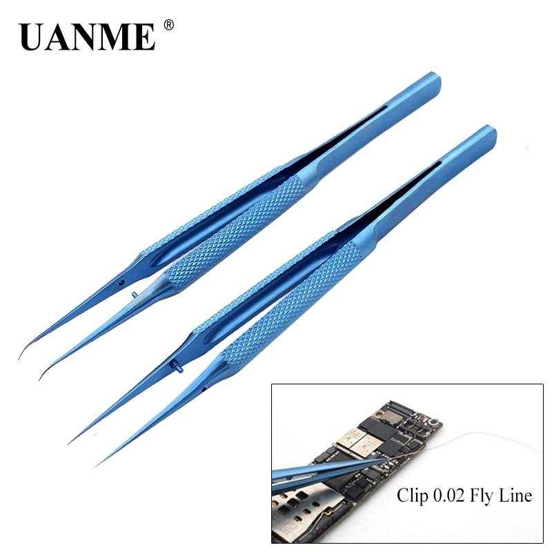 UANME Precision Titanium Alloy Fly line fingerprint Tweezers for Phone copper wire repair clip jumper line 0.02mm