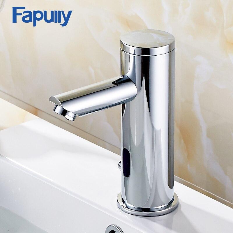Fapully автоматический inflrared Сенсор Рука сенсорный кран горячей холодной Ванная комната кран раковины хром полированный Ванная комната Сенсор
