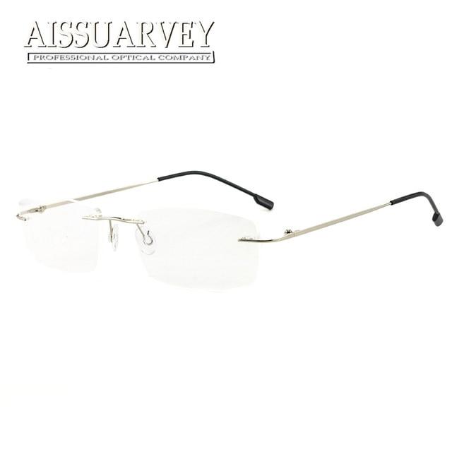 3922c2785fa5c Homens Grife Prescrição Armações de Óculos Sem Aro Óculos Optical Óculos de  Liga de Titânio Leve de Negócio Considerável Barato