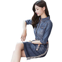 Summer Women Denim Dress 2018 New Package Hip Slim Lapel 5 Point Sleeves Embroidery Female Dresses