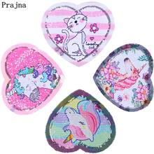 Prajna Unicorn Patches Magic Rainbow Reversible Change Color Sequined For Kids Clothing T-shirt Jacket Applique Sticker