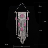 D Macrame Wall hanging Handmade Cotton Wall Hanging Tapestry with pink tassel Bohemia woven wall tapestry home and wedding decor