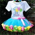 2016 новый ребенок мода пушистый ручной радуга юбки красочные девушка юбка большой с бантом танца юбка