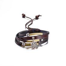 Fashion Jewelry Hand Woven Hemp Rope Bracelet Leather PU Bracelet Women Casual Personality Vintage Punk Bracelets for Gift