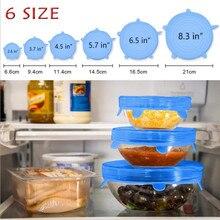 6 Pcs/Set Reusable Silicone Food Wrap Stretch Vacuum Seal Cover Saran Kitchen Organization Fresh Keeping Sealed lids