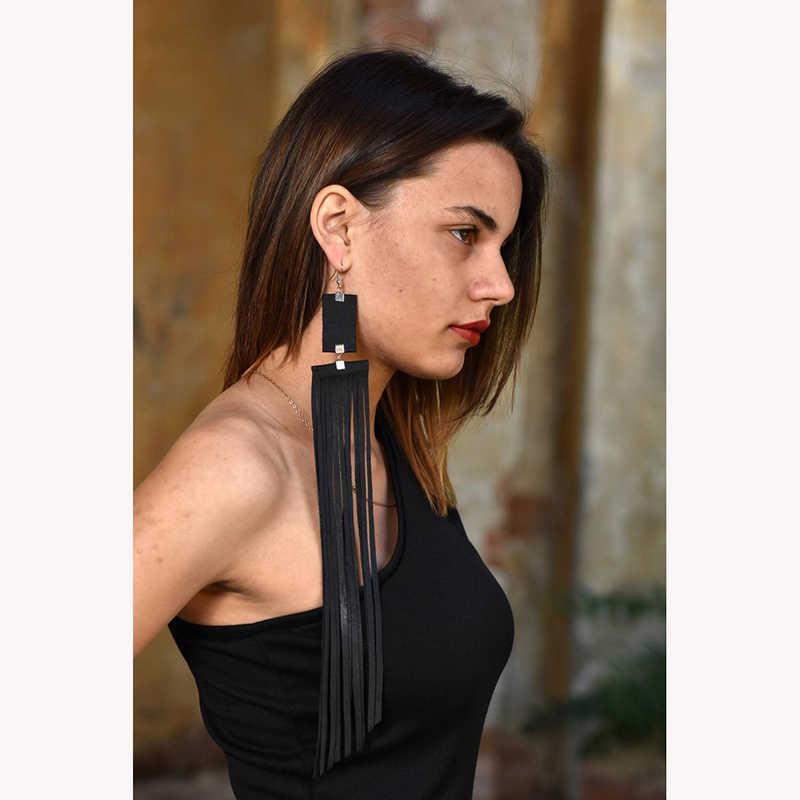 YD & YDBZ 2019 nouvelles longues boucles d'oreilles pour femmes Style Punk bohème Rave bijoux chaînes en cuir noir boucle d'oreille de luxe de haute qualité