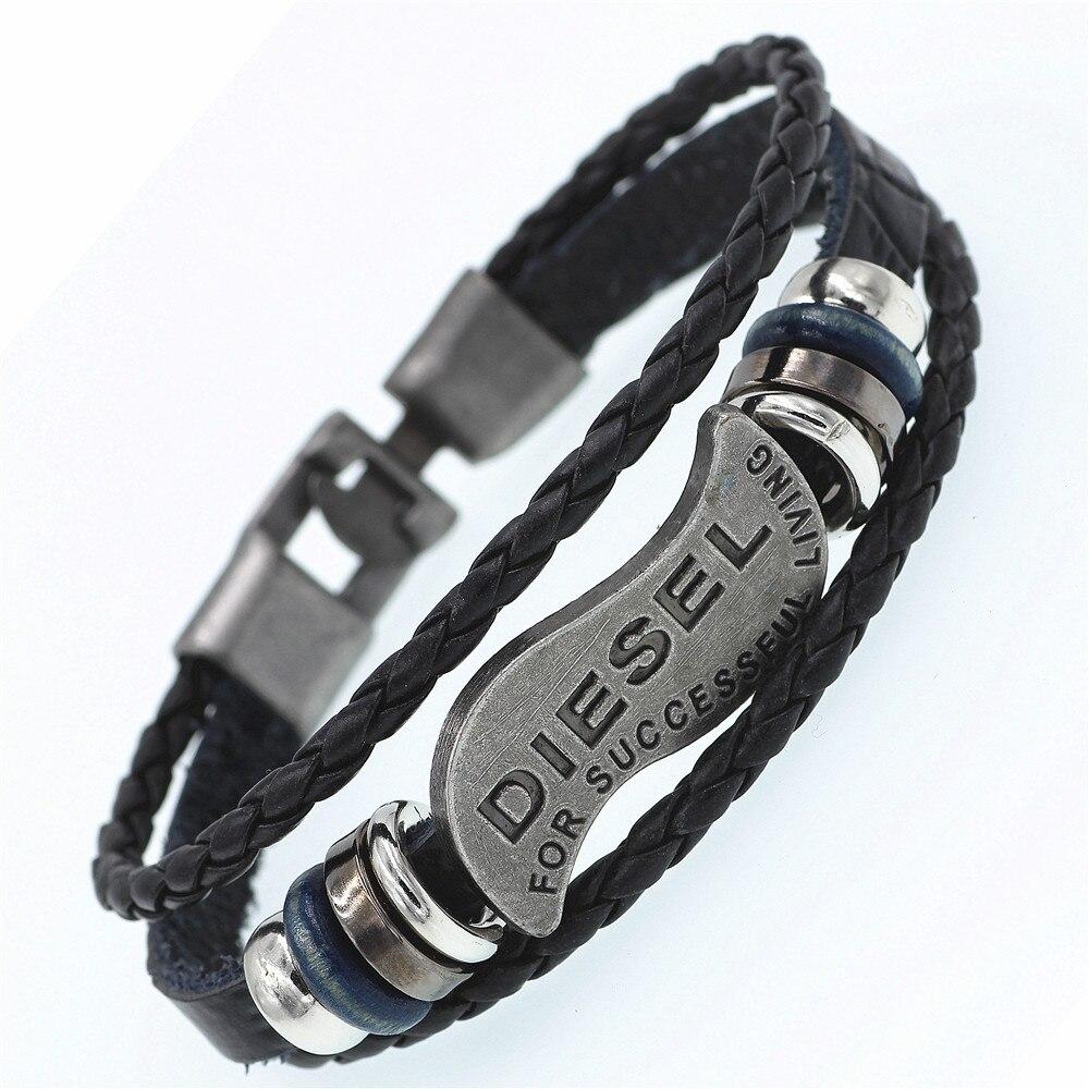 DGW Multilayer DIESEL Bracelet Men Casual Fashion Braided Leather Bracelets For Women Wood Bead Bracelet Punk Rock Men Jewelry